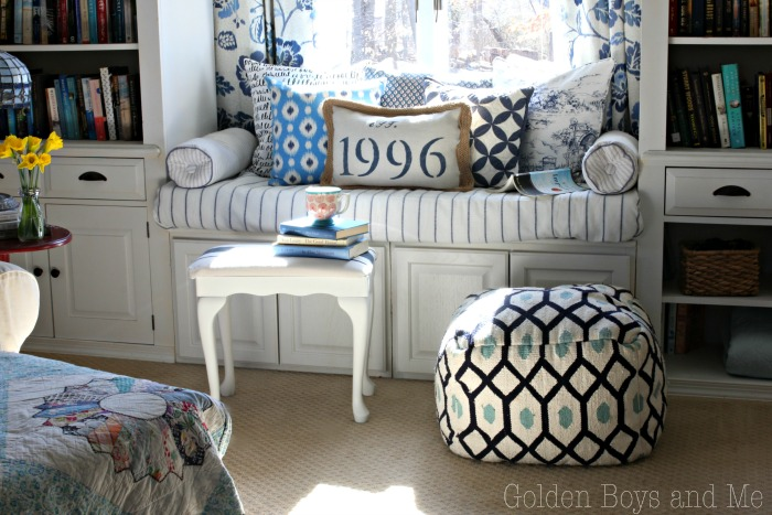 DIY window seat in master bedroom - www.goldenboysandme.com
