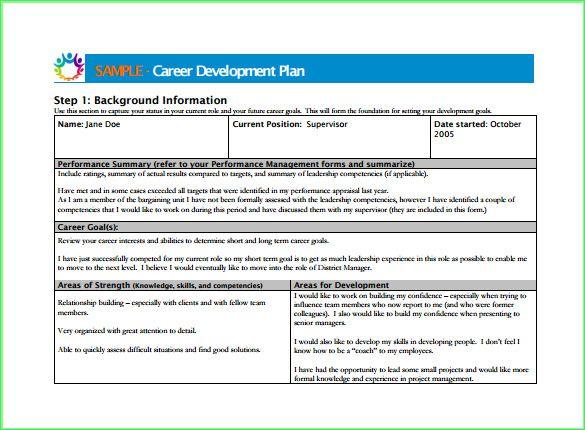Career Development Plan Template | Resume Letter Business