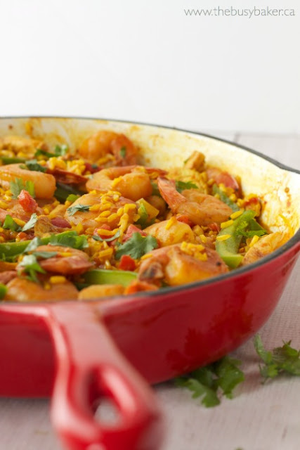 pan of Chicken and Shrimp Paella
