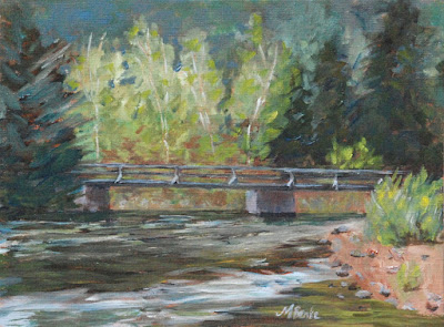 Bridge Over the Poudre plein air landscape oil painting of river by Mary Benke