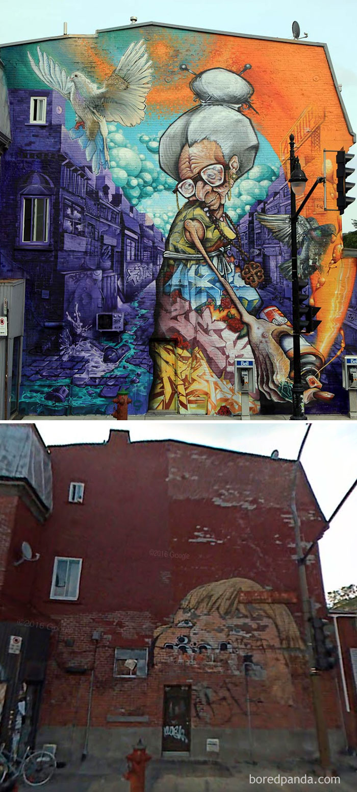 10 incredible before after street art transformations for Art mural montreal