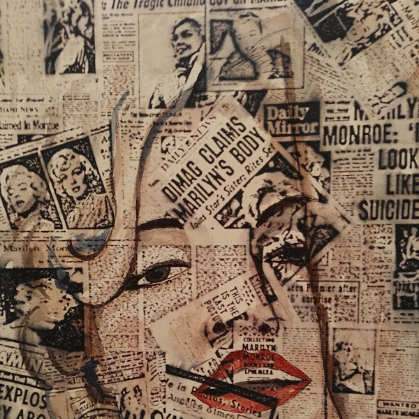 Newsprint Watercolor Portrait Marilyn Monroe