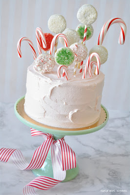 Candy Cane and Cookie Forest Christmas Cake