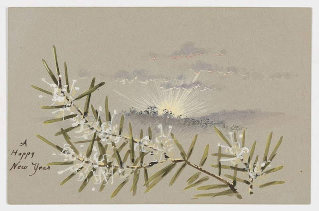 """Christmas Card design depicting an Australian landscape and white wattle with the words """"A Happy New Year""""."""