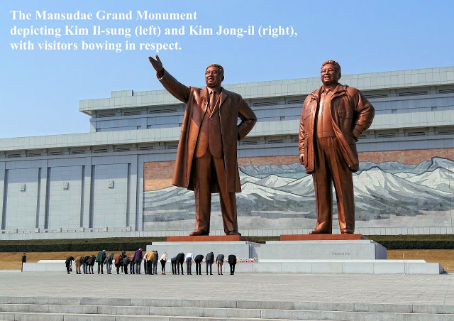 North Korea The Mansudae Grand Monument in Pyongyang in 2014 depicting Kim Il-sung (left) and Kim Jong-il (right), with visitors bowing. Mutual Assured Lunacy, postscript and Other stories of Trump and Megalomaniacs. marchmatron.com