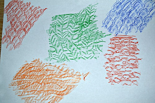 embossing with crayons