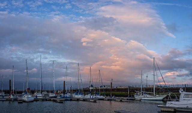 Photo of sunset over Maryport Marina last Friday evening