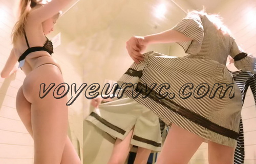 SpyCam 2303-2313 (Shopping Mall changing room. Hidden cam - Girl trying on swimsuits and dresses)