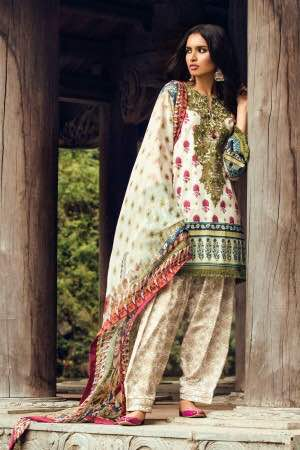 b6f5592ee9 Zara Shahjahan Lawn Embroidered Dress 2017 With Printed Trouser - Jiddat  Collection | Online Shopping For Women