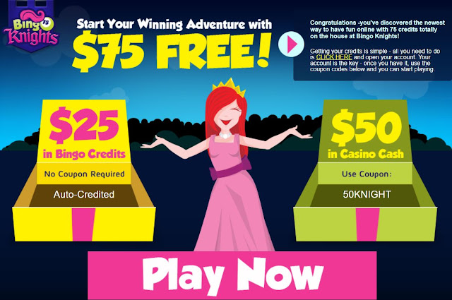 Bingo Knights $75 Free offer