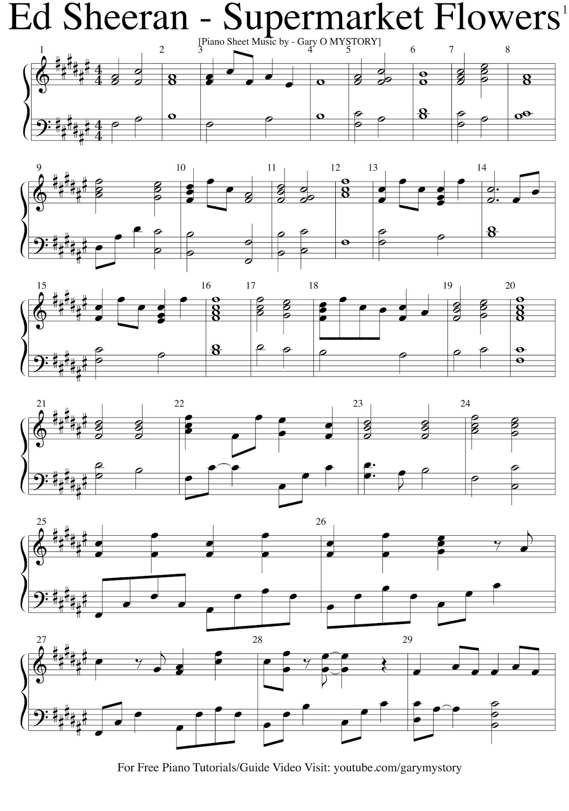 work song piano sheet music pdf