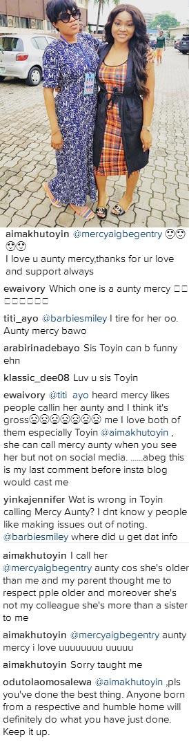 "Fans go berserk as Toyin Aimakhu calls Mercy Aigbe ""aunty,"""