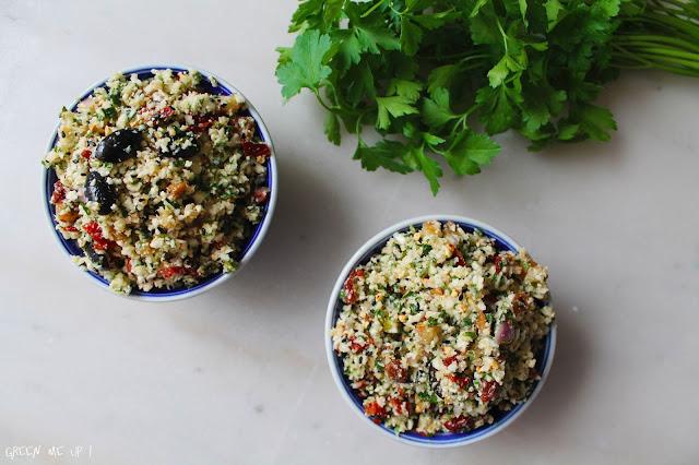 taboulé oriental semoule chou fleur citron confit raisins tomates olives