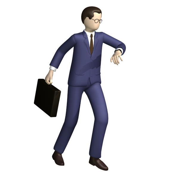 Businessman in a hurry with suitcase