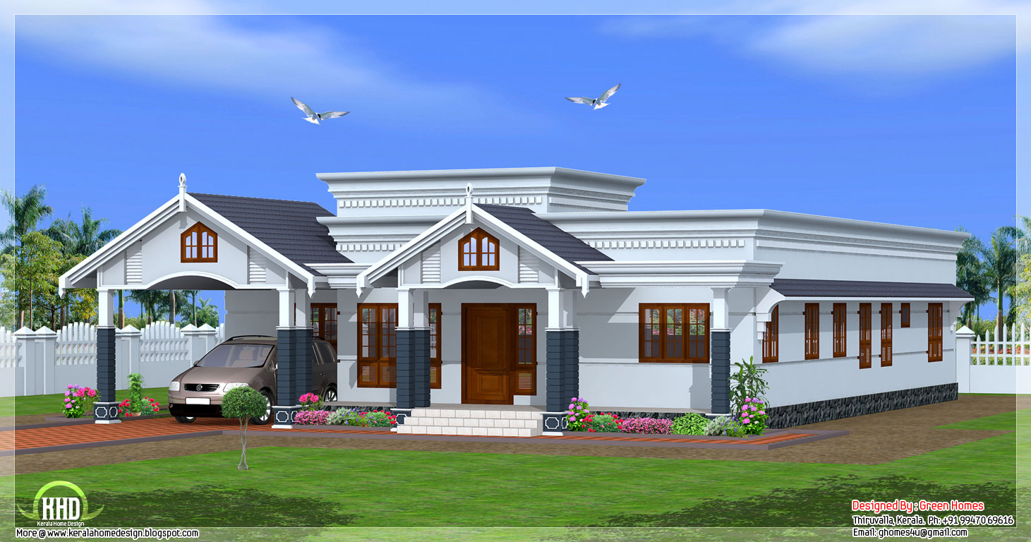 4 bedroom single floor kerala house plan kerala home for Single story 4 bedroom modern house plans
