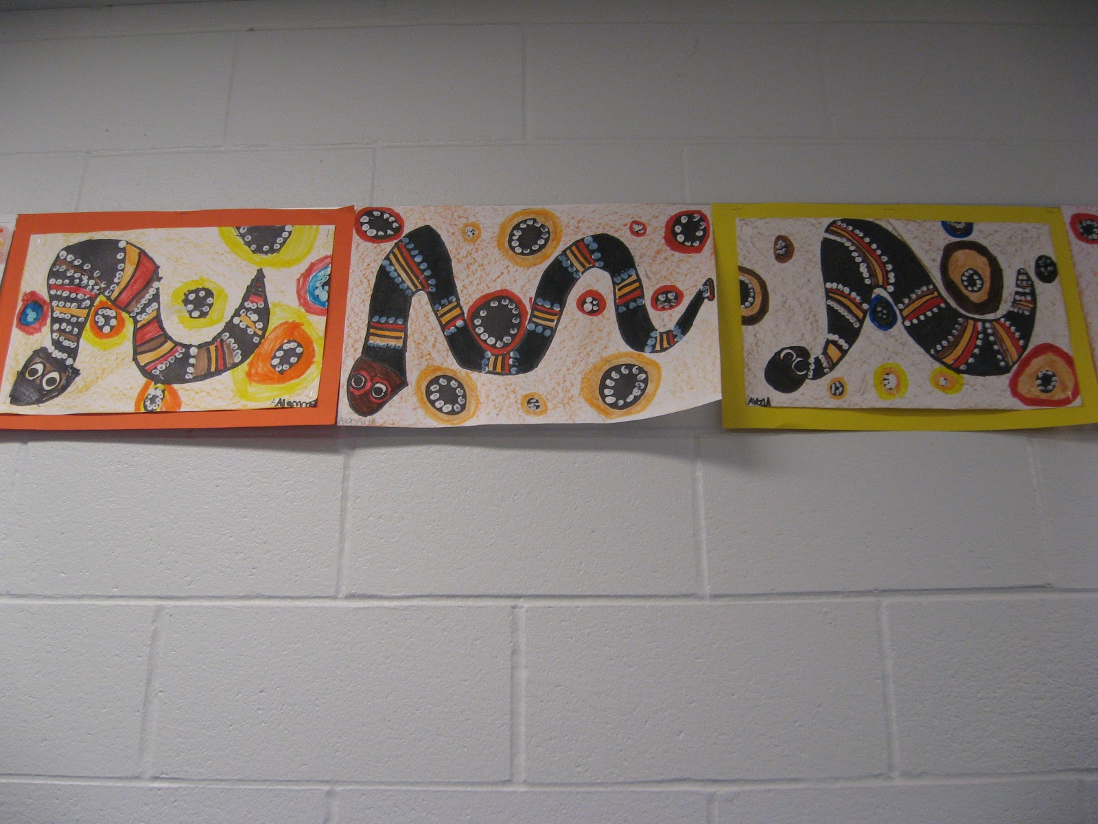 Jamestown Elementary Art Blog 1st Grade Aboriginal Snake Dot Painting