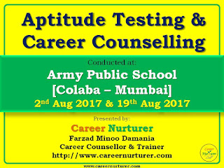 Aptitude Tests and Career Counselling at Army Public School by Career Counsellor Farzad Damania
