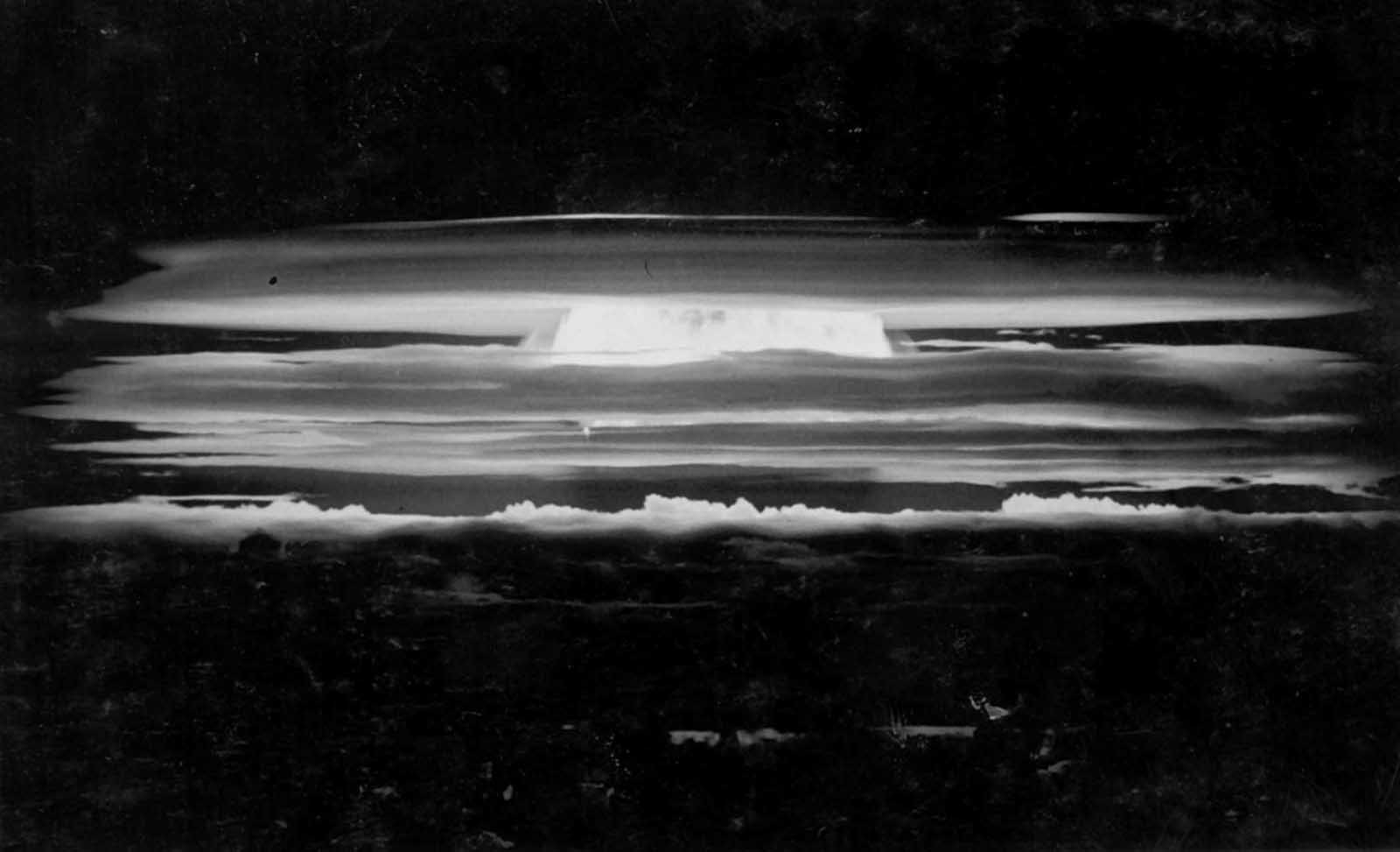 The test explosion of a hydrogen bomb during Operation Redwing over the Bikini Atoll on May 20, 1956.