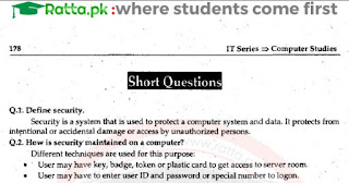 1st Year Computer Chapter 6 Short Questions pdf - ICS part 1