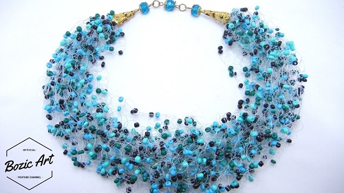 Easy Bead And Fishing Line Crochet Necklace With Great Finishing Tip