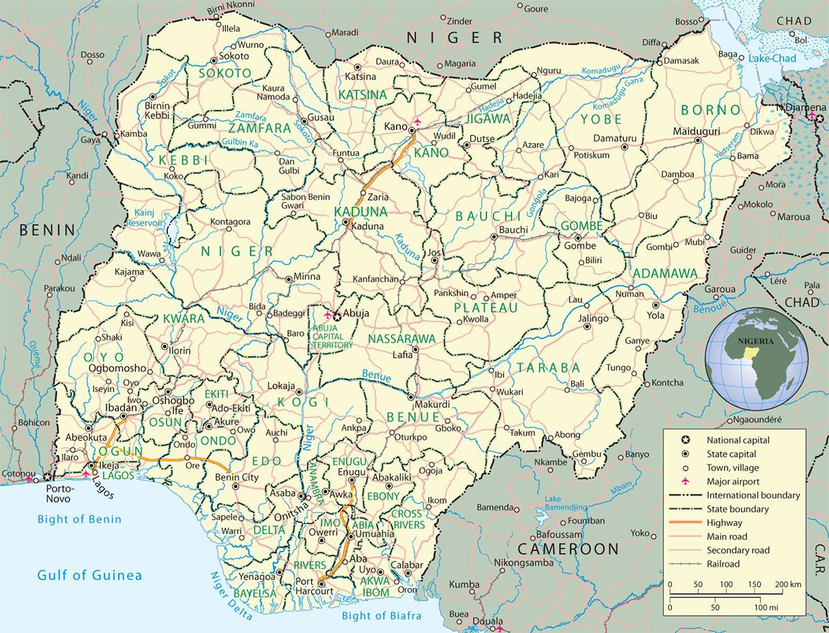 Nigéria | Mapas Geográficos da Nigéria