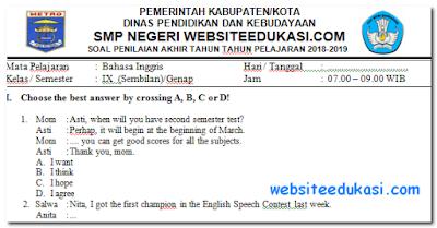 Soal PAT Bahasa Inggris Kelas 9 K13 Revisi 2018