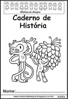 Capa caderno de história -mascotes