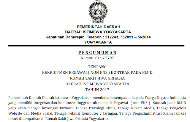 Rekruitmen Pegawai Non PNS Kontrak Pada BLUD RSJ Grhasia DIY Tahun 2017