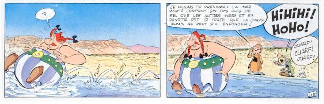 Obélix flotte dans la mer