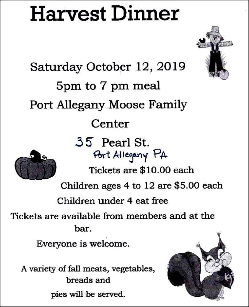 10-12 Harvest Dinner, Port Allegany Moose