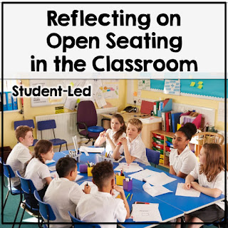 Students sitting around a table working together with text that says Reflecting on Open Seating in the Classroom