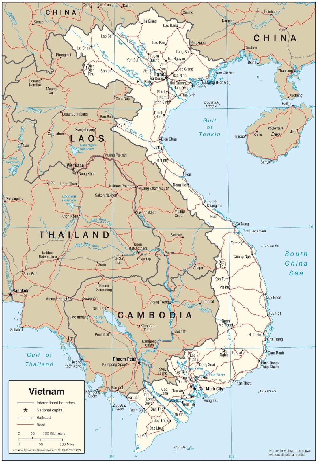 Peta Vietnam Utara dan Selatan
