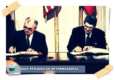Perjanjian Internasional, Pengertian Perjanjian Internasional, Macam-macam Perjanjian Internasional, Tahapan Perjanjian Internasional, Asas Perjanjian Internasional, Pembatalan Perjanjian Internasional.