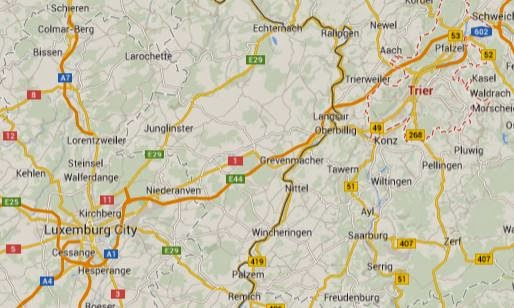 Map showing location of Luxemburg City (lower left) and Trier (upper right).  (from Google Maps.)