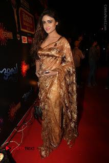 Actress Model Sony Charishta Stills in Beautiful Embroidery Saree at Gemini TV 2016 Puraskaralu Event  0135.JPG