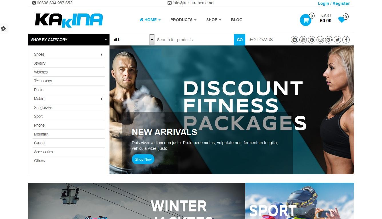 Miễn phí theme Blog Kakina shop dùng bán đồ thể thao bằng wordpress
