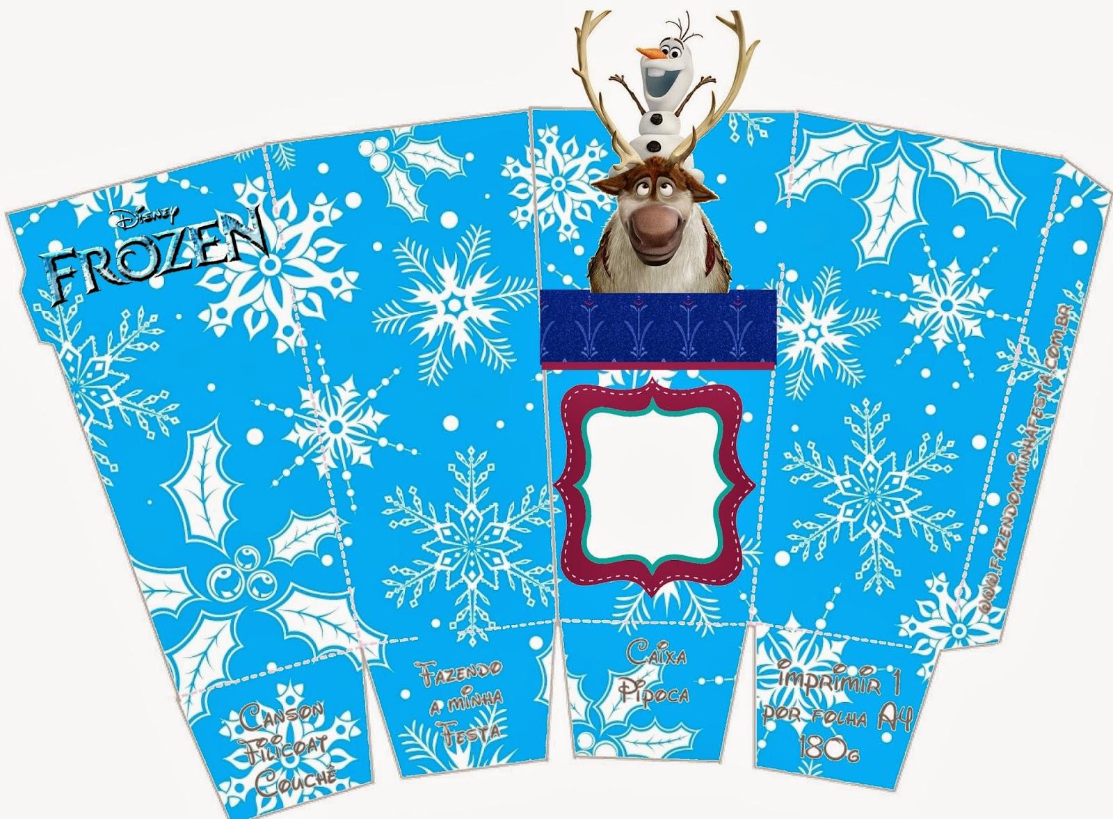 Frozen: Caja de Sven y Olaff para Popcorn, para Imprimir Gratis.