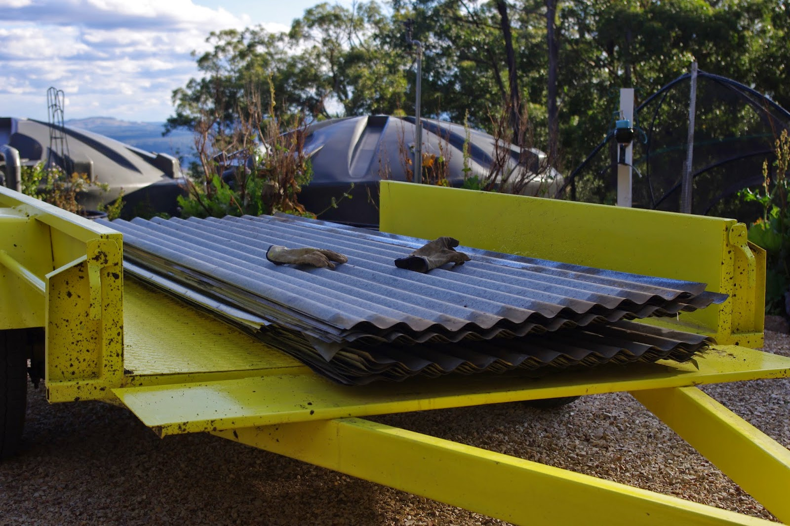 Iron sheeting on the yellow peril trailer