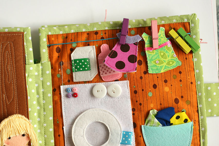 Quiet busy dollhouse book with felt doll for pretend play, TomToy handmade, развивающая книжка, кукольный домик