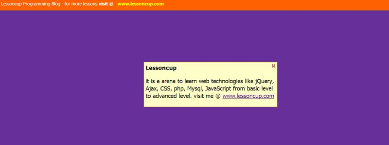 jQuery Alert Message Box | Lessoncup Programming Blog