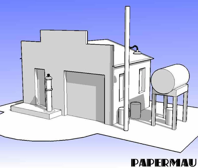 Papermau old service station paper model by papermau next project i was freely inspired in the blueprint below unfortunately i do not know who is the author of this project malvernweather Image collections