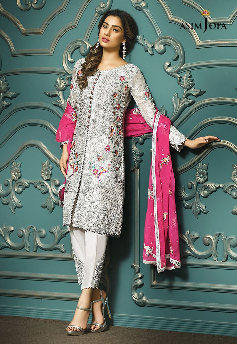 61c9d5c435 Pakistani Fancy Dresses Asim Jofa Mysorie Chiffon Collection 2018-19  incorporates event wear dresses. It is strikingly released for the coming  Eid ...