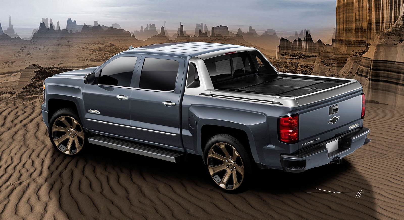 Chevy Show Trucks Tackle The Sand To Get To SEMA