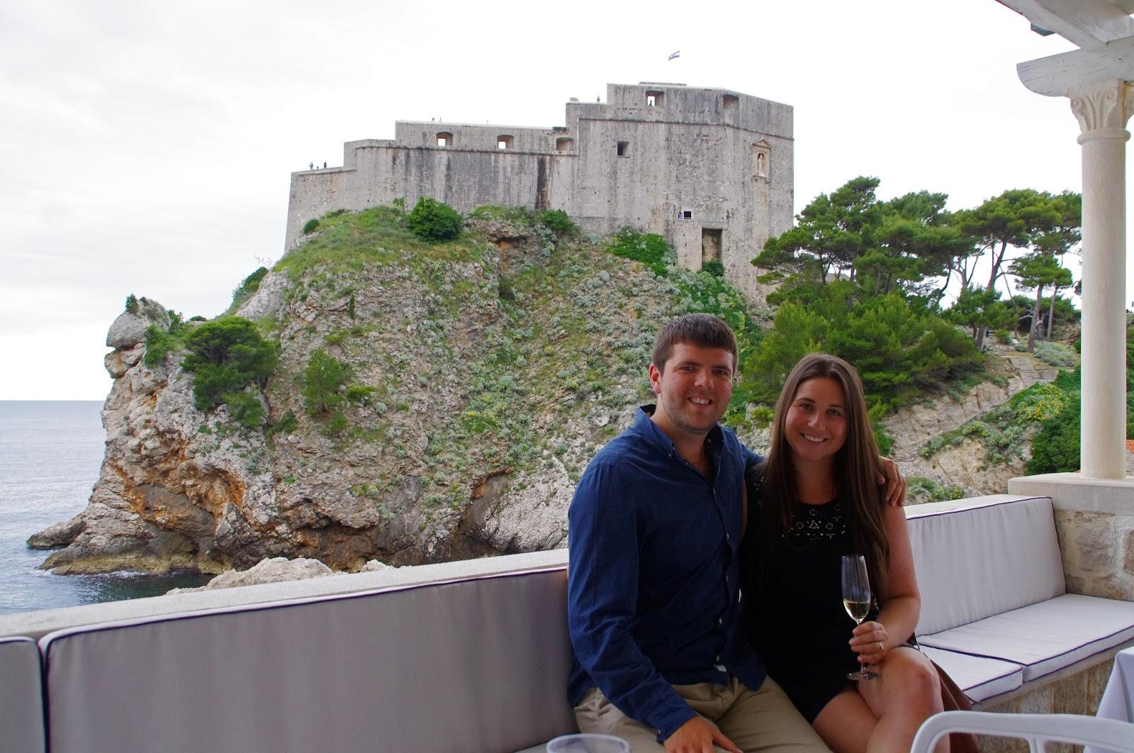 Simone and Dan with view at Nautika Restaurant Dubrovnik