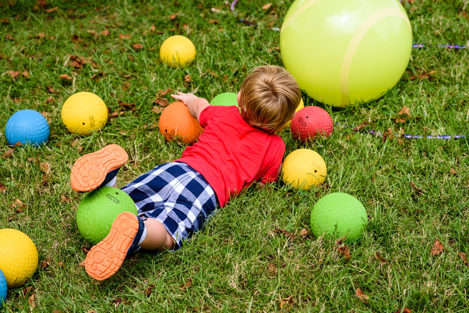 boy lying on top of playground balls and grass Music Together Vivo! Park Playalong © Diana Sherblom Photography