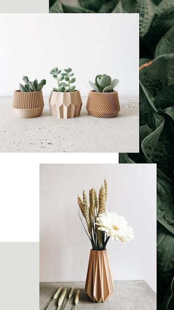 Minimum design vase en 3d bois origami