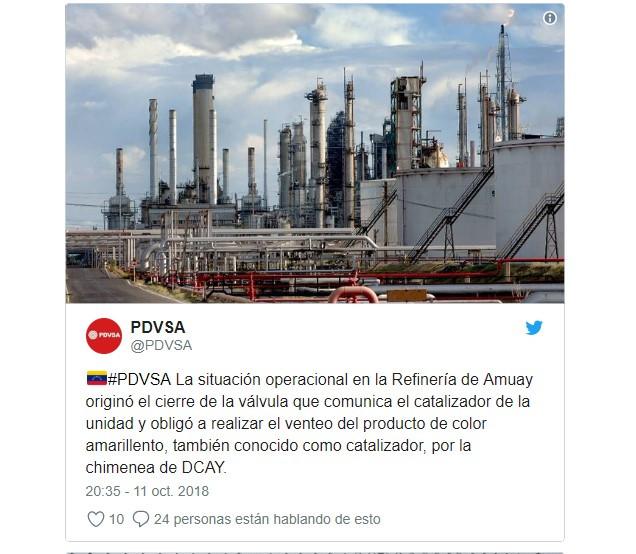 Tras siete horas de humareda en Amuay, Pdvsa asegura que se experimentó una falla en la planta catalítica