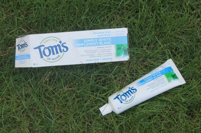 tom's of maine toothpaste in grass
