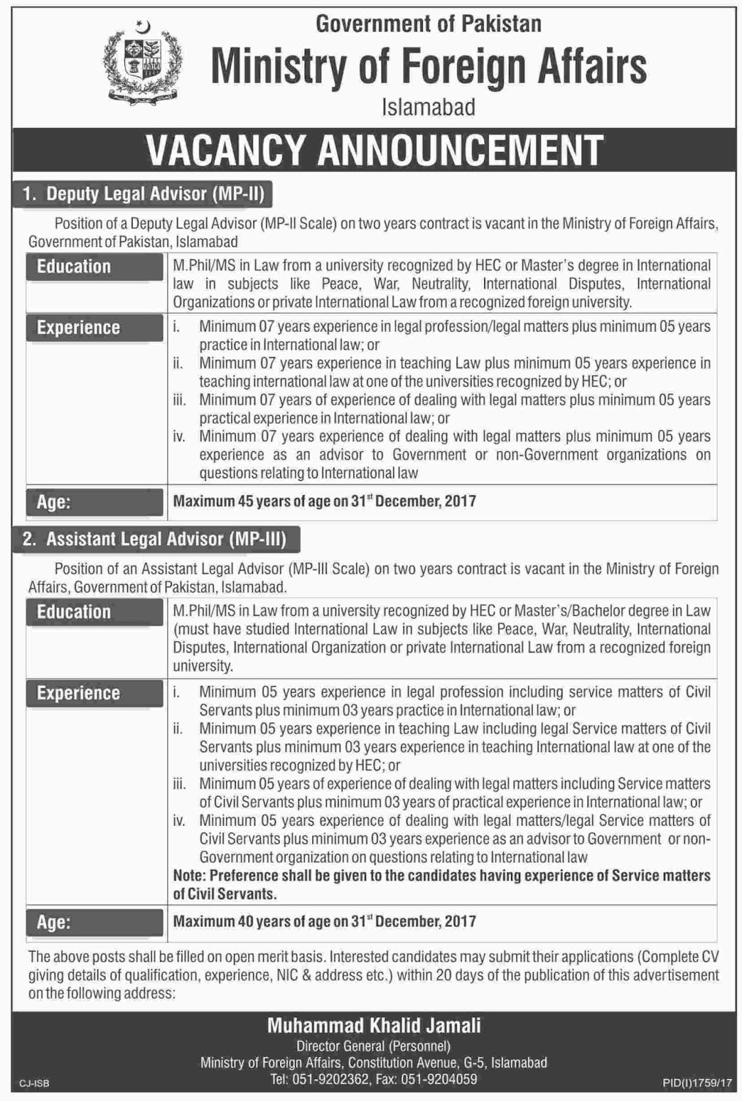 jobs in Ministry Of Foreign Affairs Islamabad Oct 2017