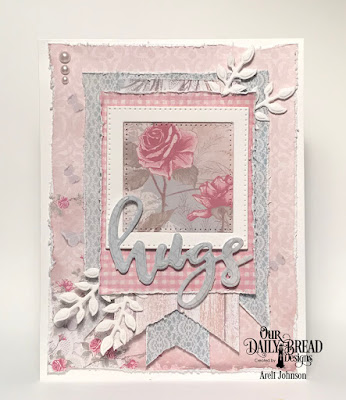 Stamp/Die Duos: Hugs  Paper Collection: Shabby Rose  Custom Dies: Pierced Squares, Bitty Blossoms